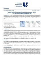 Uranium Participation Corporation Reports Financial Results for the Quarter Ended November 30, 2020